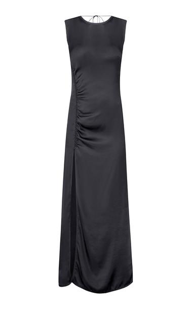 Anna October Agata Satin Slit Midi Dress in black