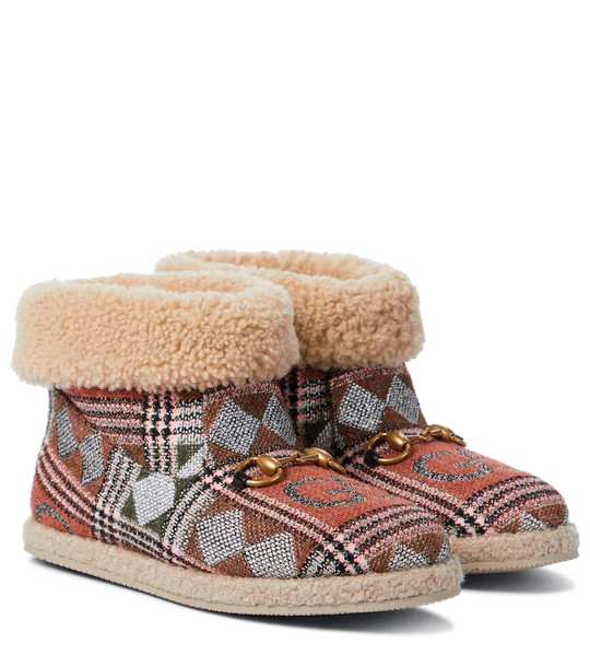 Gucci GG checked wool-trimmed ankle boots
