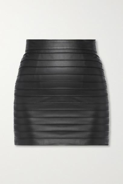 Alessandra Rich - Paneled Leather Mini Skirt - Black