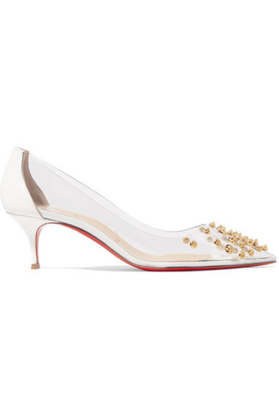 Christian Louboutin - Collaclou 55 Spiked Pvc And Patent-leather Pumps - White