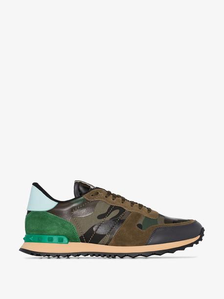 Valentino green and brown Garavani Rockrunner Camouflage sneakers