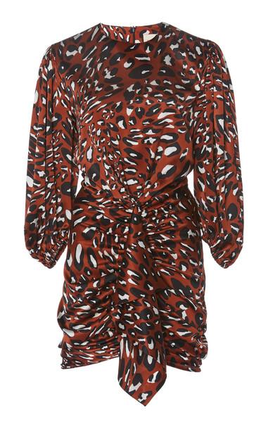 Alexandre Vauthier Printed Silk-Blend Mini Dress in brown