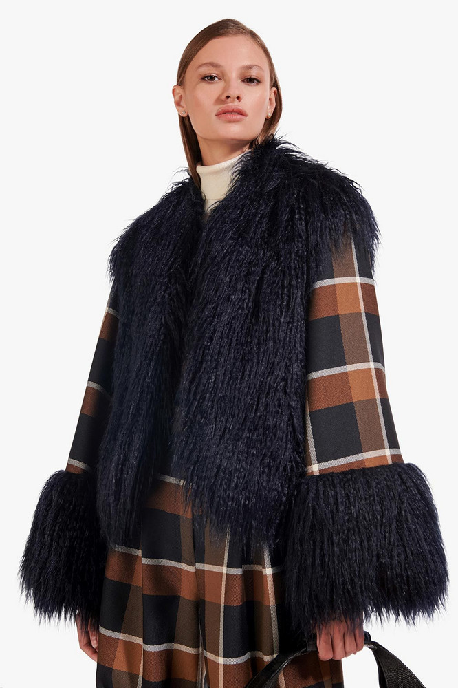 Staud CECE COAT | NAVY DARK PLAID