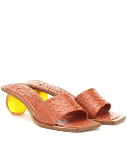Cult Gaia Tao croc-effect leather sandals in brown