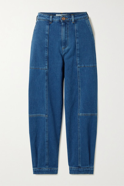 See By Chloé See By Chloé - Cropped Paneled High-rise Jeans - Mid denim