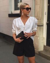 top,white blouse,zara,black shorts,High waisted shorts,black purse