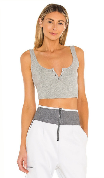 Free People X FP Movement Luxe Rib Snap Tank in Light Grey