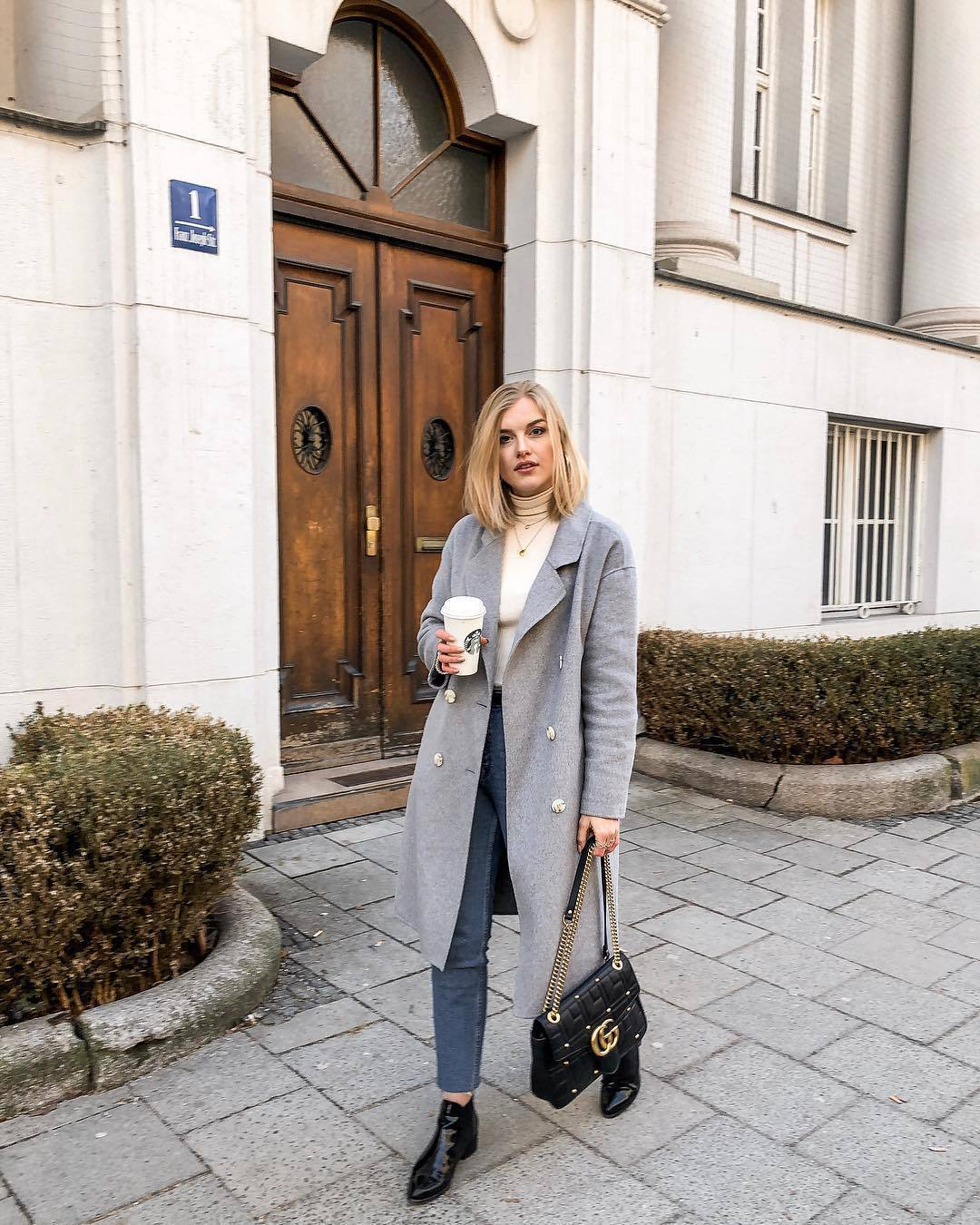 bag gucci bag black bag ankle boots patent boots high waisted jeans skinny jeans grey coat double breasted white turtleneck top