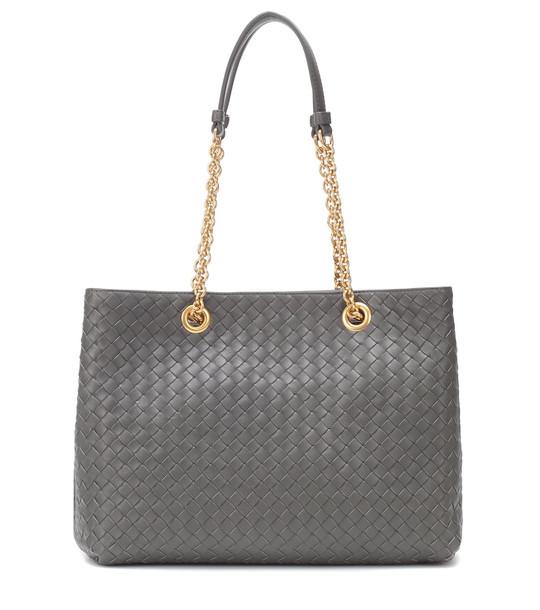 Bottega Veneta Intrecciato leather shoulder bag in grey
