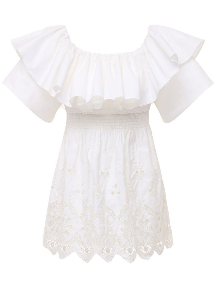 SELF-PORTRAIT Off-the-shoulder Cotton Broderie Dress in white