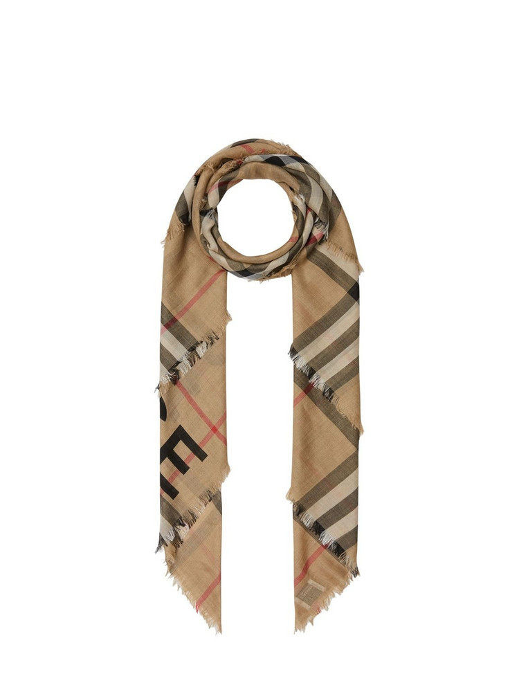 BURBERRY Giant Check Wool & Silk Square Scarf in beige