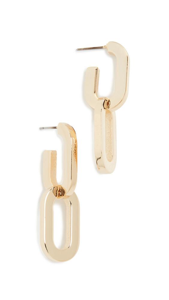 Kenneth Jay Lane Double Link Drop Earrings in gold
