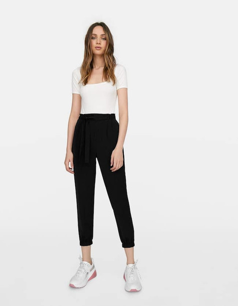 Stradivarius Basic Baggy Trousers With Belt In Black