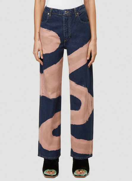 Eckhaus Latta Contrast Wide Leg Jeans in Blue size 27