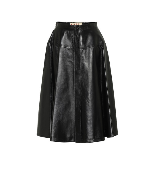Marni High-rise leather midi skirt in black