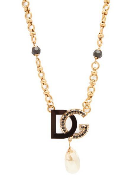 Dolce & Gabbana - Dg Charm & Crystal Drop Necklace - Womens - Black