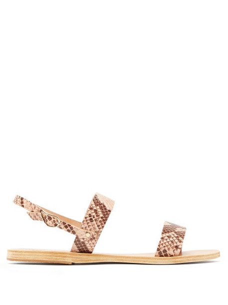 Ancient Greek Sandals - Clio Snake Effect Leather Sandals - Womens - Pink Multi