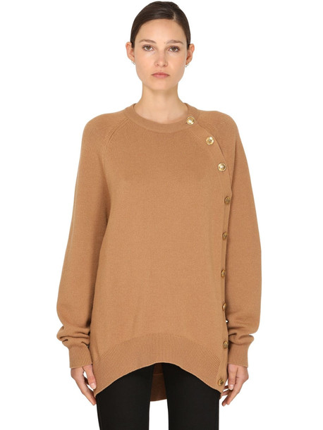 GIVENCHY Side Button Wool Blend Knit Sweater in camel