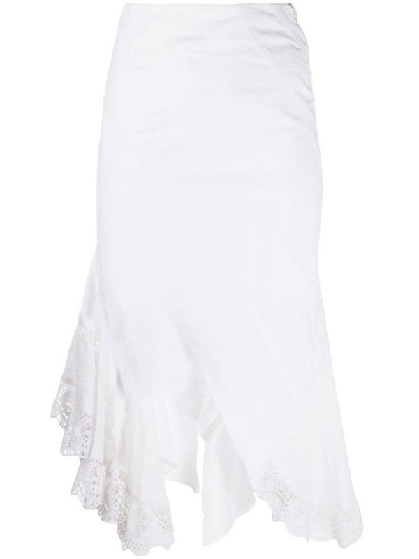 Marine Serre raw-cut edge lace skirt in white