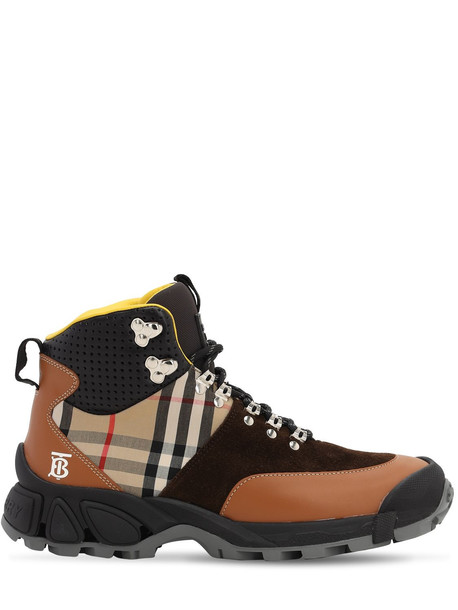 BURBERRY 40mm Check Leather & Cotton Hiking Boots in tan