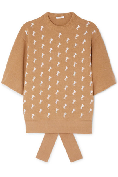 Chloé Chloé - Embroidered Wool-blend Sweater - Beige