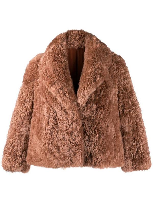 Liska oversized fur jacket in neutrals