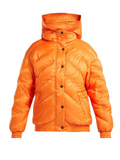 Perfect Moment - Chevron Quilted Bomber Jacket - Womens - Orange Navy