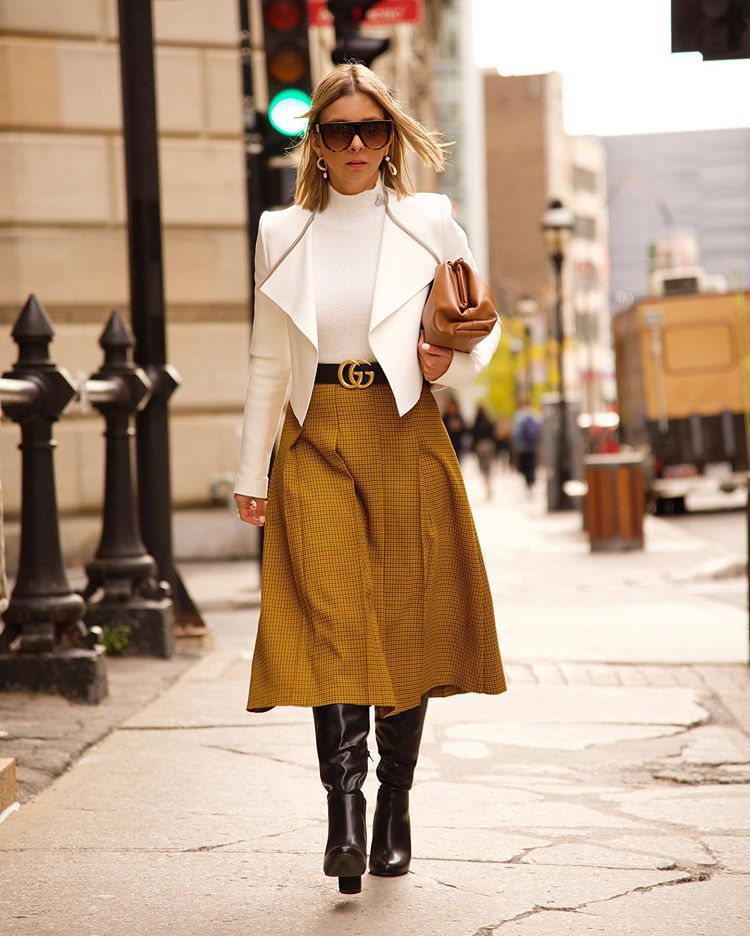 skirt midi skirt plaid skirt knee high boots white blazer white turtleneck top gucci belt bag