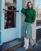 sweater,green sweater,prada,cable knit,mohair,shirt dress,midi dress,white boots,heel boots,belt,sunglasses