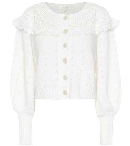 LoveShackFancy Hayden pointelle cardigan in white