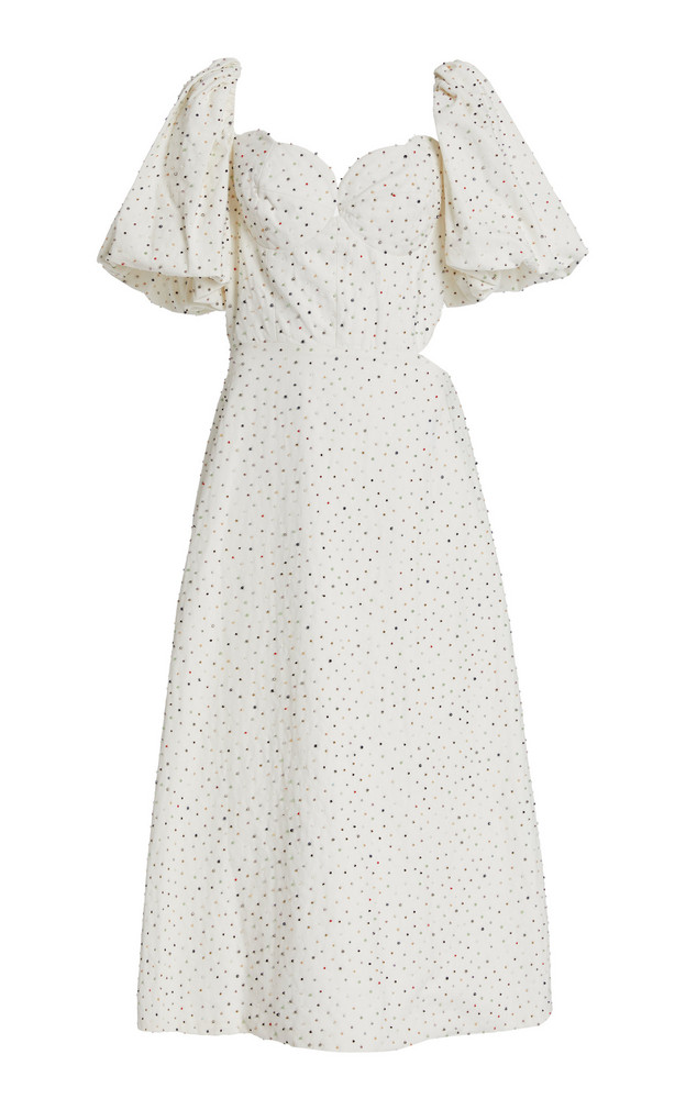 Markarian Exclusive Greta Cutout Beaded Cotton Dress in white