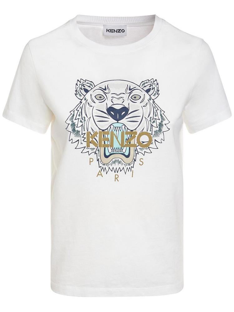 KENZO Classic Tiger Logo Cotton T-shirt in white