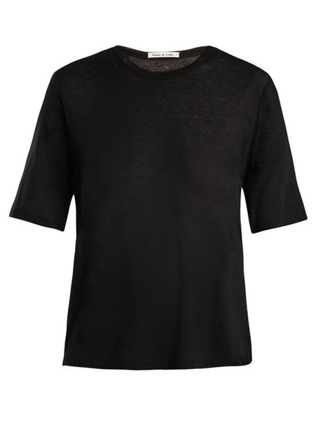 Frances De Lourdes - Martin Round Neck Cashmere And Silk Blend T Shirt - Womens - Black