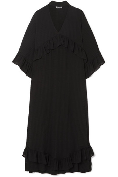 GANNI - Ruffled Seersucker Midi Dress - Black