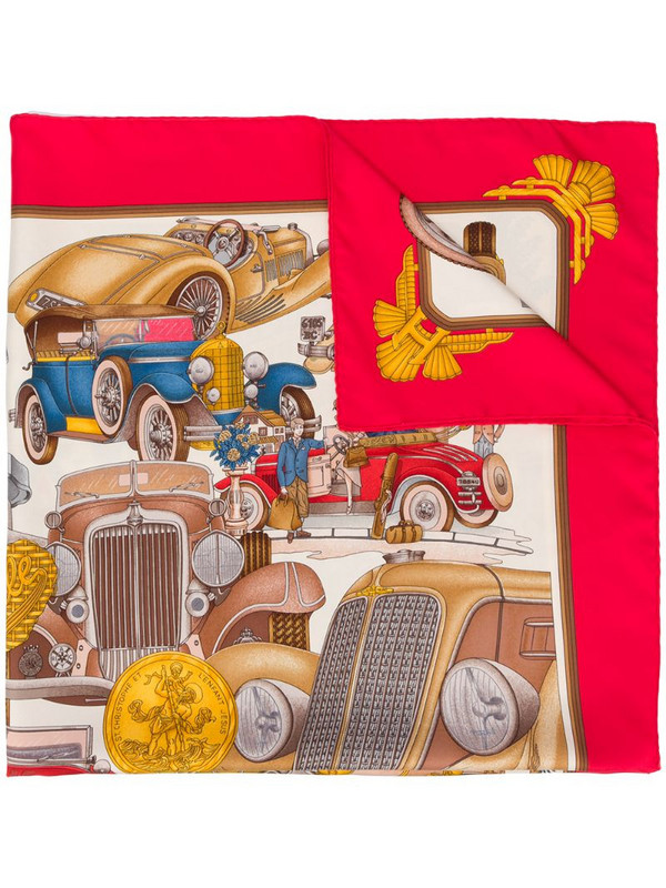 Hermès 2000s pre-owned Automobile scarf in red