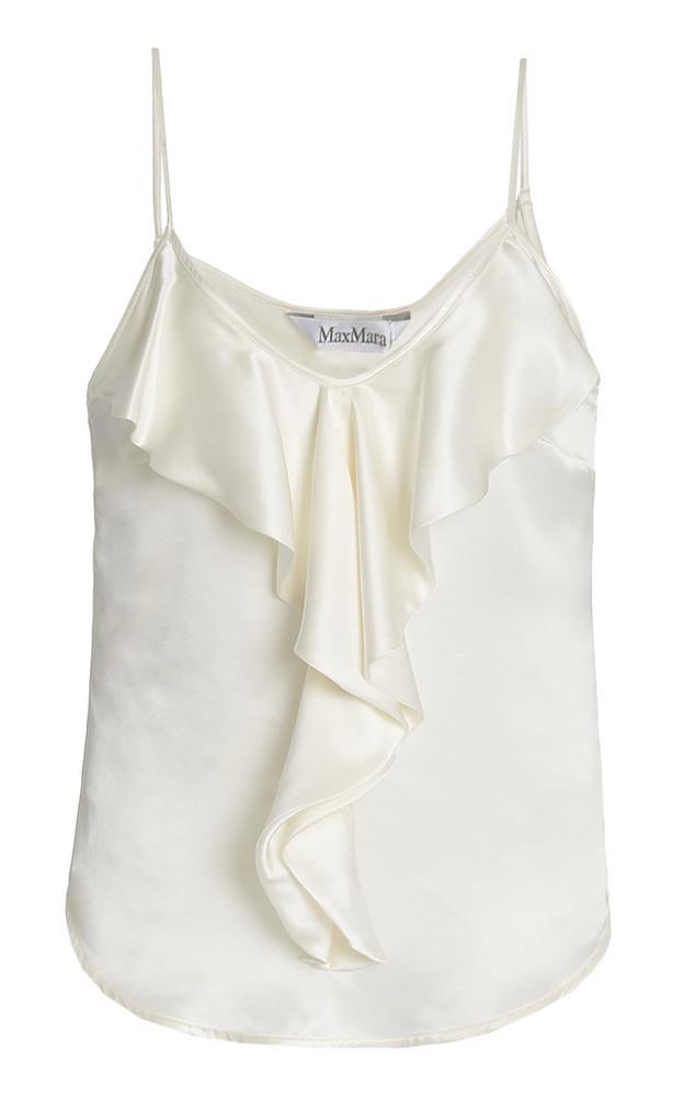 Max Mara Edile Ruffled Silk Camisole in white