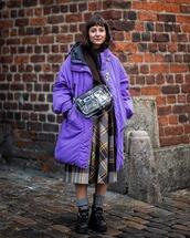 skirt,plaid skirt,midi skirt,black shoes,knitted socks,purple,puffer jacket,oversized jacket,brown sweater,turtleneck sweater,pvc,bag