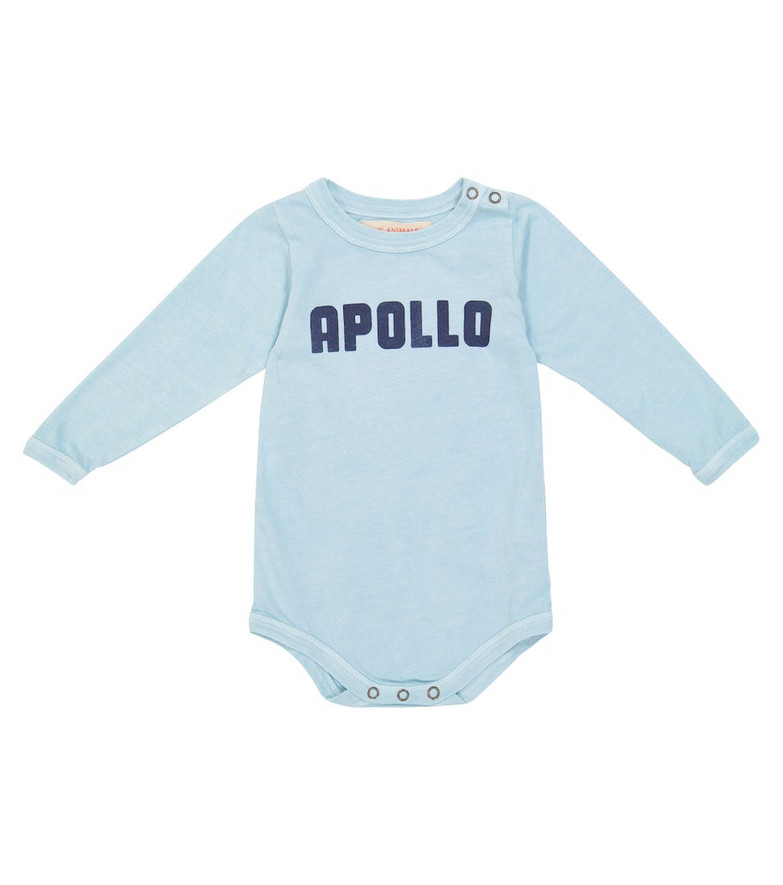 The Animals Observatory Baby printed cotton knit body in blue