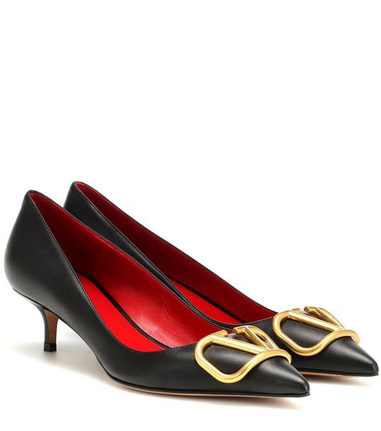 Valentino Garavani VLOGO leather pumps in black