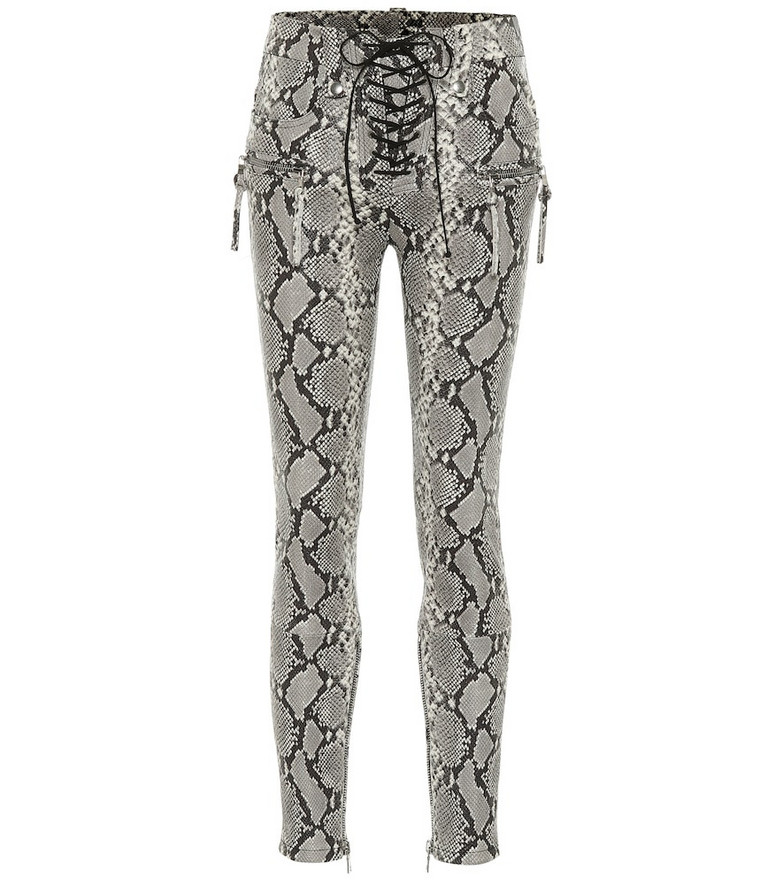 Unravel Snake-effect leather pants in grey