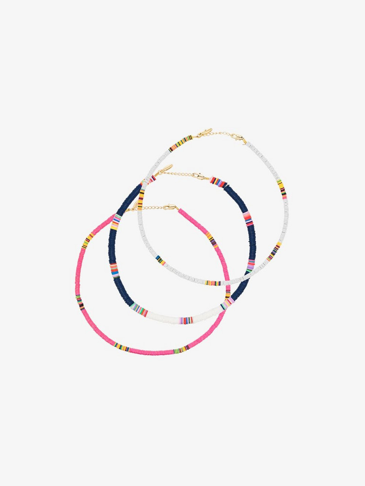 ALL THE MUST gold-plated beaded anklet set in blue