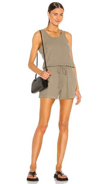 Chaser Poor Boy Rib Double Scoop Tank Romper in Army