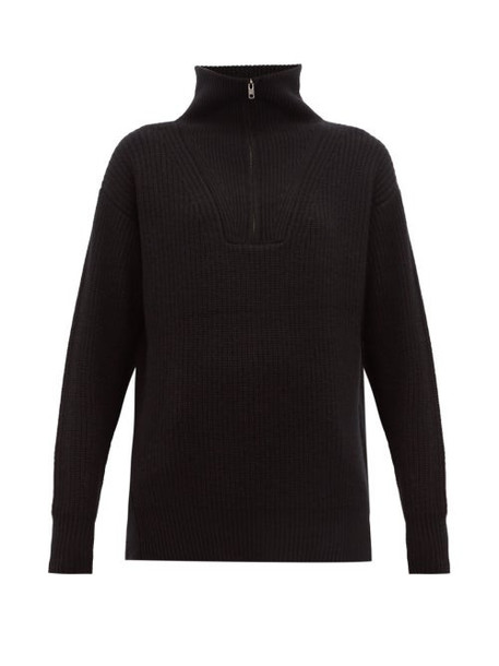 Nili Lotan - Benni Half Zip Ribbed Cashmere Sweater - Womens - Black