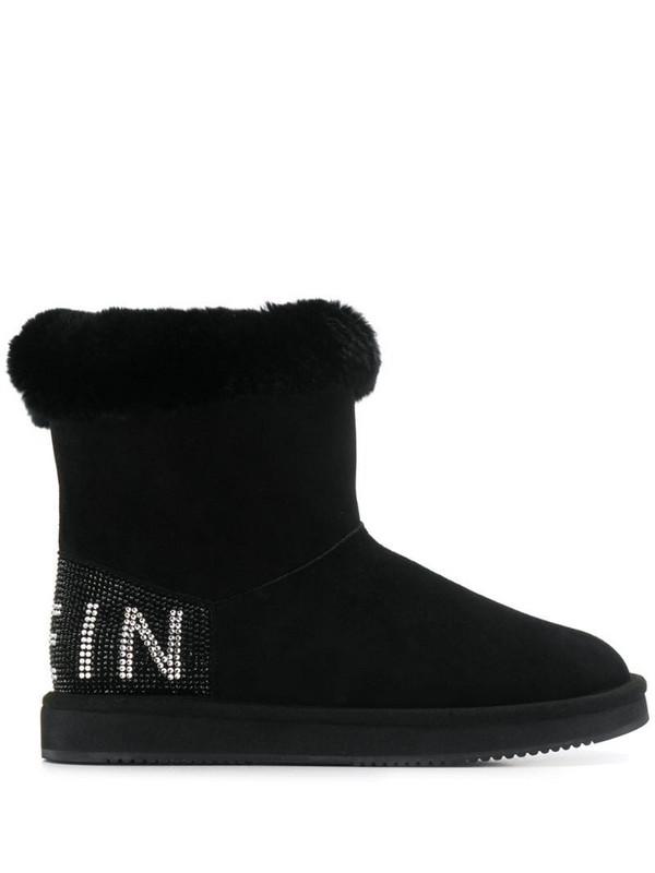 Philipp Plein embellished flat boots in black
