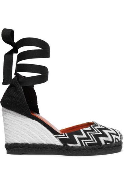 Castañer - Missoni Carina 80 Crocheted Canvas Wedge Espadrilles - Black