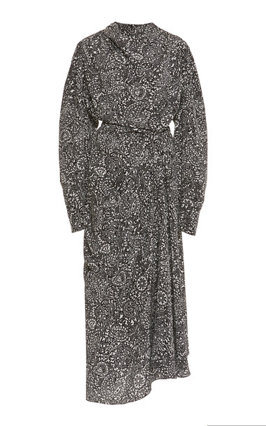 Isabel Marant Bernadette Printed Silk Midi Dress in black