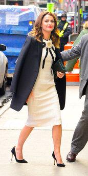 dress,beige,beige dress,keri russell,celebrity,midi dress