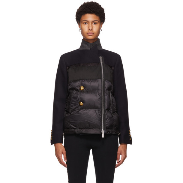 Sacai Navy Wool Puffer Jacket