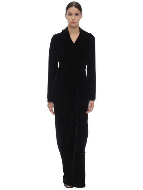 RICK OWENS Long Viscose & Silk Wrap Gown in black