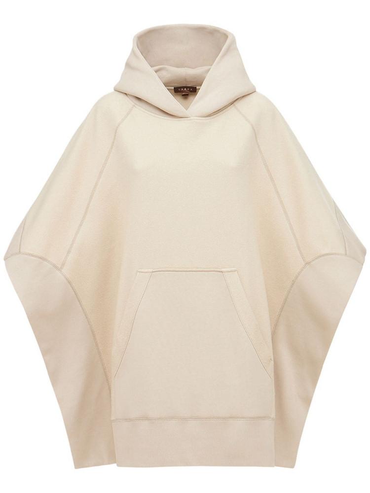 VAARA Hooded Sweatshirt Poncho in beige